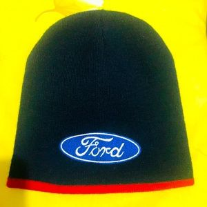 FORD Logo Navy Blue Knitted embroidered Beanie~NEW